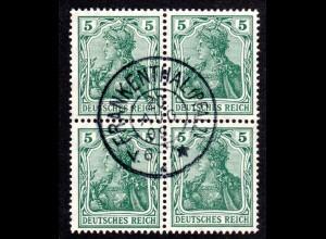 DR, 4er-Block 5 Pf. Germania m. Bayern Fremdentwertung v. FRANKENTHAL, Pfalz