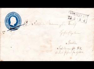 Preussen, R2 PRENZLAU auf 2 SGr. Ganzsache Brief n. Berlin