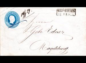 Preussen, R2 NORDHAUSEN u. hds. Datum 14/1 59. auf 2 SGr. Ganzsache Brief