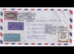Österreich Christkindl 1985, schöner Brief n. Australien. Destination! #1960