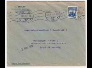 Dänemark Österreich 1922, Firmen Brief m. EF 40 öre blau (Facit 400.-). #1970