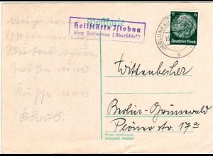 DR 1941, Heilstaette Jstebna ueber Jablunkau, Landpost Stpl. auf Karte m. 6 Pf.