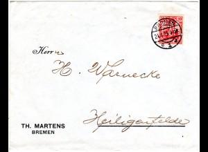 DR 1913, 10 Pf. Germania m. perfin Firmenlochung auf Brief v. Bremen c1l
