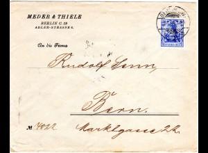 DR 1908, 20 Pf. Germania m. perfin Firmenlochung auf Brief v. Berlin