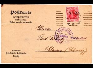 DR 1919, 10 Pf. m. perfin Firmenlochung auf Firmen Karte v. Leipzig m. Zensur
