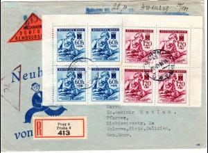 Boehmen u. Maehren 1942, 2 Viererblocks auf Nachnahme-Reko Brief n. Galizien