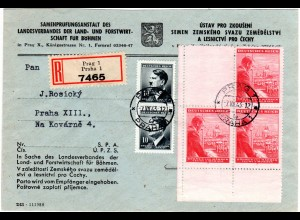 Böhmen u. Mähren 1943, 120+80 H. Viererblock m. Leerfeld auf Reko Brief Prag