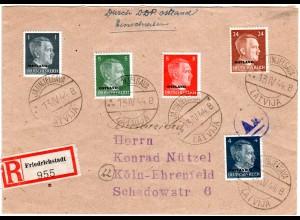 Ostland 1944, 5 Marken auf Einschreiben Zensur Brief v. JAUNJELGAVA LATVIJA