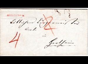 Baden 1837, roter L1 MOESKIRCH.R.2. auf Porto Brief n. Hartheim