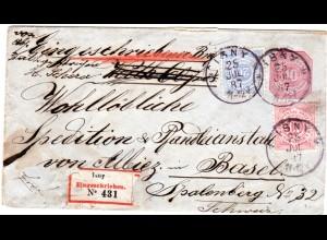 Wuerttemberg 1887, 10+20 Pf. auf eingeschriebenem 10 Pf. Ganzsache Brief v. ISNY