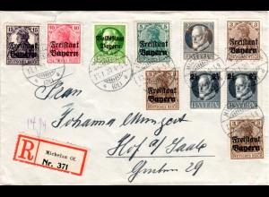 Bayern 1920, 10 Marken auf Einschreiben Brief v. MICHELAU Of. n. Hof