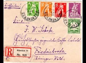 Bayern 1920, 5 Marken auf Einschreiben Brief v. MUENCHEN 22 n. Friedrichroda