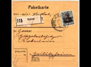 Bayern 1919, EF 75 Pf. Germania auf Paketkarte v. VOLKACH n. Zeilitzheim