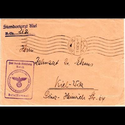 DR 1937, Frei d. Ablösung Kriegsmarine Festungskommandatur auf Brief v. Kiel-Wik
