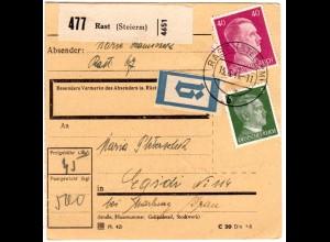 DR 1944, 5+40 Pf. auf Ostmark Paketkarte m. B-Etikett u. Steiermark Stpl. RAST