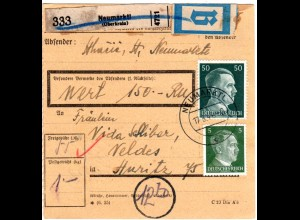 DR 1944, 5+50 Pf. auf Ostmark Paketkarte m. B-Etikett u. Krain Stpl. NEUMARKTL