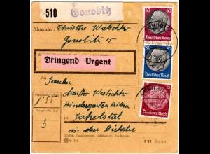DR 1942, 15+60+80 Pf. auf Ostmark Paketkarte m. Steiermark Stpl. GONOBITZ