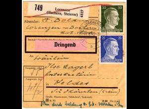 DR 1943, 25+30 Pf. auf Ostmark Paketkarte m. Steiermark Stpl. LORENZEN BACHERN