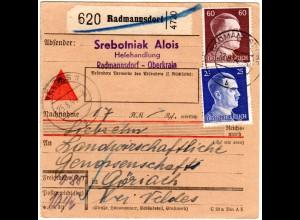 DR 1944, 25+60 Pf. auf Ostmark Nachnahme-Paketkarte m. Krain Stpl. RADMANNSDORF
