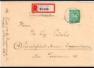 1947, EF 84 Pf. auf Brief m. Not-Einschreiben-Zettel ENGELSDORF Bz. LEIPZIG
