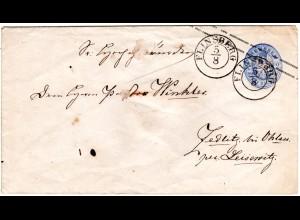 Preussen, 2 SGr. Ganzsache Brief m. K2 FLINSBERG u. 1/2 SGr. Land-Zustellgebühr