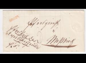 Baden, roter L1 SINGEN klar auf Brief n. Messkirch.. #483