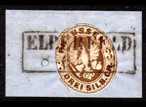 Preussen, 3 SGR. Ganzsachenauschnitt auf Briefstück m. R2 Elberfeld