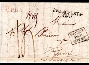 Preussen 1828, L2 Frankfurt A/O. u. rot CPR.4 auf Portobrief n. Frankreich