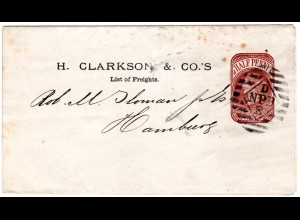 GB, barred D NPB E on 1/2d Stationery wrapper to Hamburg. H. Clarkson & Co.
