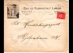 Norwegen 1915, 10 öre auf Bilderbrief Bad og Kuranstalt Larvik n. DK