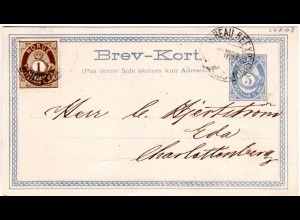 Norwegen 1882, 1 öre Zusatzfr. auf 5 öre Ganzsache v. Christiania n. Schweden