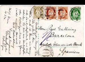 Norwegen 1920, 4 Marken auf portorichtiger Karte v. Sörskogbygden n. Spanien.