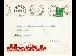 Norwegen 1941, Oslo V-Maschinenstpl. auf Orts-Brief m. 10 öre. Adresse!
