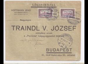Ungarn 1920, Szombathely, echt geflogener Flugpost Brief m. Ank.Stpl. #705