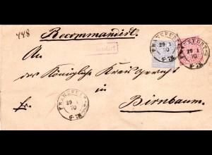 NDP 1870, 1+2 Gr. auf Einschreiben Brief m. K2 FRANKFURT A/O u. viol. Reko-Stpl.