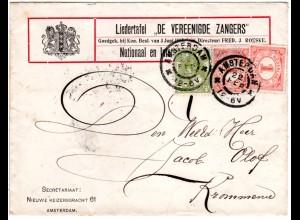 """NL, 3+2x1 Ct. auf Liedertafel Brief v. Amsterdam """"De Vereenigde Zangers"""""""