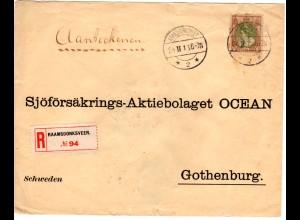 NL 1916, EF 22 1/2 Ct. auf Einschreiben Brief v. RAAMSDONKSVEER n. Schweden