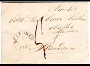 NL 1860, K1 DELEMMER auf Portbrief m. rücks. Ankunftstpl. Bolsward