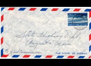NL Antillen 1954, 15 Ct. auf Luftpost Brief v. Aruba St. Nicolaas n. USA