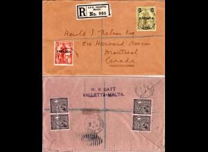Malta 1926, 6 Marken vorder- u. rückseitig auf Reko Brief n. Canada