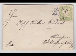 Bayern, Punktstempel Neu Ulm klar auf kl. Drucksache Brief m. 3 Pf grün. #1848