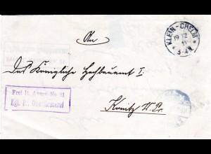 DR 1911, Frei lt. Avers No. 21 Kgl. Pr. Oberförsterei auf Brief v. Klein-Chelm