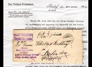 DR 1907, Frei lt. Avers No. 21 Kgl. Polizei-Direktion auf Brief v. Rixdorf
