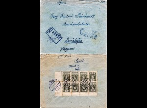 Polen 1920, Bogenecke 8er-Block 25 F. rücks. auf Reko Brief v. Sanok n. Bayern