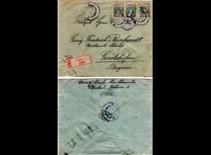 Polen 1920, 4x50 F. vorder- u rücks. auf Reko Brief v. KRAKOW n. Bayern