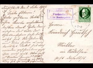 Bayern 1915, Posthilfstelle FUCHSSTADT Taxe Heidingsfeld auf Karte m. 5 Pf.