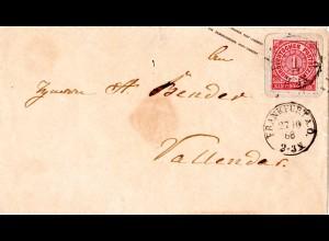 NDP 1868, 1 Gr./1 SGr. Ganzsache Brief m. K1 FRANKFURT A.O.