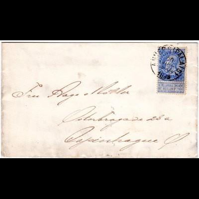 Belgien 1895, 25 C. auf Brief v. Anvers (Palais) n. Dänemark