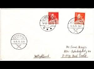Grönland 1975, Schiffsstpl. M/S KUNUNGUAK auf Brief m. 50+80 öre n. Deutschland
