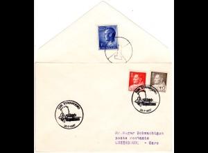 Grönland 1967, 40+50 öre auf Brief m. 1 F. Luxemburg Poste Restante Gebühr